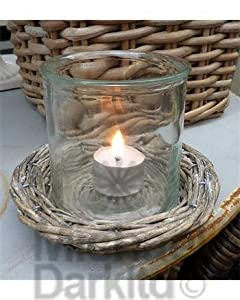 Glass Candle Holder on willow saucer