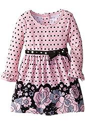 Youngland Baby-Girls Newborn Brushed Knit Floral Border Print Dress