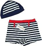 【Babystity】 子供 ベビー 男の子 ボーダー柄 水着 帽子 2点セット (90cm)