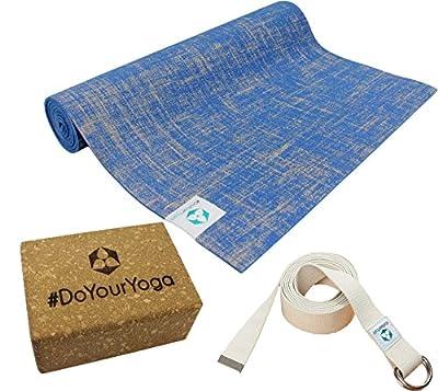 Yogaset : Yogamatte aus Jute/PVC 183x61x0,5cm (blau) inklusive Baumwoll - Yogagurt und Korkblock