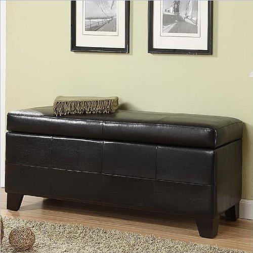 Black Friday Modus Furniture Upholstered Milano Storage Bench Black Leatherette Cheap Best Deals