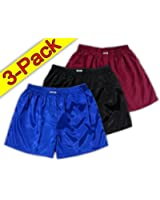 Blue Black Burgundy Thai Silk Boxer Shorts Underwear Men Sleepwear 3 Pack