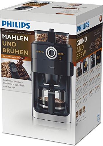 Philips hd7766 00 cafeti re filtre programmable noir et m tal avec broyeur - Cafetiere broyeur integre ...