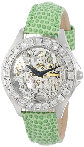 Burgmeister Merida Women's Automatic Watch with Silver Dial Analogue Display and Green Leather Strap BM520-100A