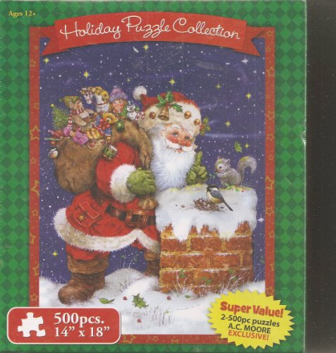 Holiday Puzzle Collection ~ 500 Piece Jigsaw Puzzle (Set of 2) ~ Bear with Toys / Dogs with Decorated Doghouse