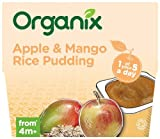 Organix Stage 1 From 4 Months Organic Fruit Cereal and Milk Pots Apple and Mango Rice Pudding 4 x 100 g (Pack of 6, Total 24 Pots)