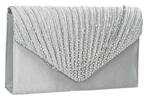 Abby Diamante Envelope style Clutch Bag in Silver