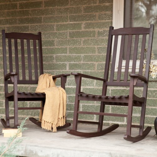 Pair Of Coral Coast Indoor/Outdoor Mission Slat Rocking Chair - Dark Brown front-764029
