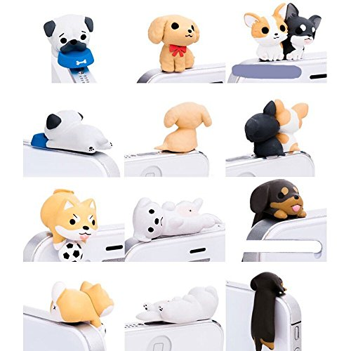 iAnko® 6 Pcs (Whole Set) Cute Little Puppy Dust Plug Stopper Universal 3.5mm Anti Dust Earphone Jack Plug Cap for Iphone4/4s/5/6/6 Plus,ipod,ipad,htc,samsung S3 S4 S5 (S5 Anti Dust Plug compare prices)