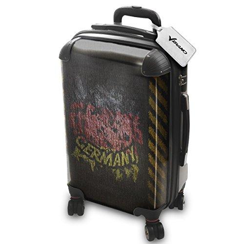 Drapeaux Signés Allemagne, Luggage Bagage Trolley Valise de Voyage Rigide, 360 degree 4 Roues Valise avec Echangeable Design Coloré. Grandeur: Adapté à la Cabine S