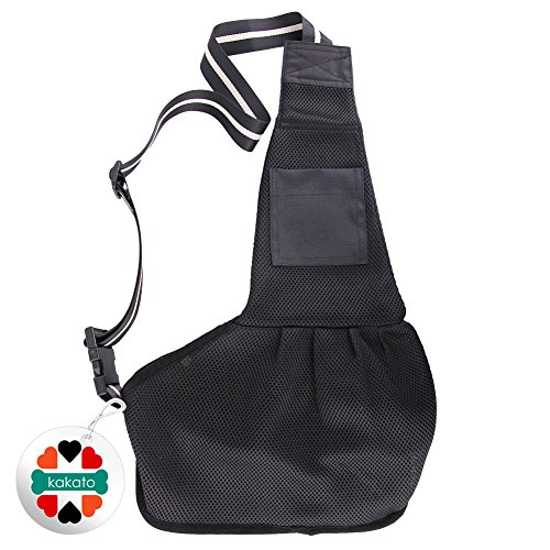 Nylon Pet Dog Cat Puppy Sling Single Shoulder Bag Carrier Holder Tote-Black Medium Size
