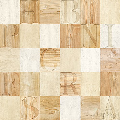 Wallstickery wood letters prepasted wallpaper contact for Self adhesive letters for walls