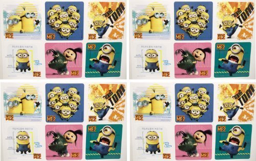 "DESPICABLE ME STICKERS - Despicable Me Birthday Party Favor Sticker Set Consisting of 45 Stickers Featuring 6 Different Designs Measuring 2.5"" Per Sticker"