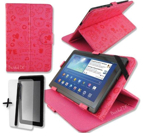 """Niedlichen Rosa PU Lederner Tasche Case Hülle für Modecom FreeTAB 9706 IPS2 X4+ 9.7"""" Zoll Inch Tablet-PC + Bildschirmschutzfolie + Stylus Stift"""