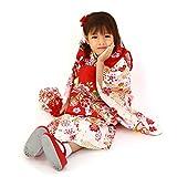 【5.白地に花車と熨斗/被布赤】七五三 3歳 女児用 正絹被布着物 フルコーディネート10点セット