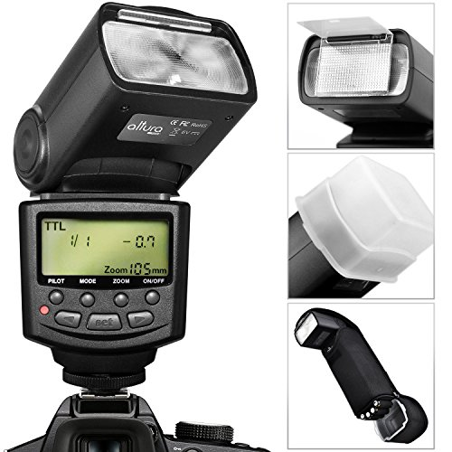 Altura Photo E-Ttl Auto-Focus Dedicated Flash (Ap-C1001) For Canon Dslr Cameras Including Rebel Eos T3I T4I T5I T2I T1I Sl1 20D 30D 40D 50D 60D 70D 5D 6D 7D, Eos 700D 650D 600D 550D 500D 100D + Flash Stand + Protective Pouch + Hard Diffuser + Magicfiber M