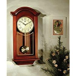 River City Clocks Chiming  Regulator Wall Clock with Swinging Pendulum and Cherry Finish - 24 Inches Tall - Model # 6023C