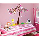 Adorable Owl Monkey Giraffe Elephant Zoo Tree Wall Sticker Nursery Decal 5108