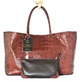 100% BELLY SKIN GENUINE CROCODILE LEATHER HANDBAG BAG TOTE HOBO EXTRA LARGE HUGE SHINY COGNAC NEW w/Wallet EXTREME SOFT!