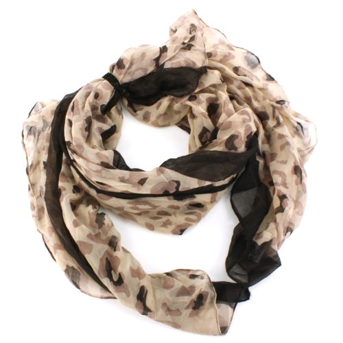Sk Hat Shop Women'S Free Elastic Hair Band Tie With Leopard Print Wrap Scarf