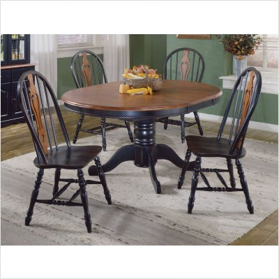Black and Cherry Oval Butterfly Dining Table
