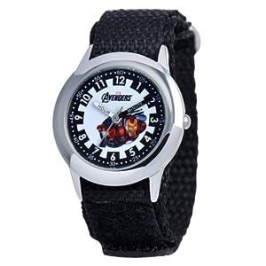 Marvel Comics Kids' W000304 Marvel Avenger Kid's Stainless Steel Time Teacher Black Velcro Strap Watch
