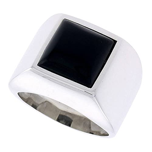 "Revoni Sterling Silver Gents' Ring w/ a Square-shaped Jet Stone, 5/8"" (16mm) wide"