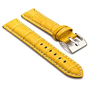 StrapsCo Premium Yellow Croc Embossed Leather Watch Strap size 30mm