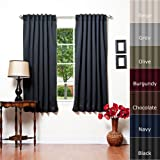 "Best Home Fashion Thermal Insulated Blackout Curtain - Back Tab/ Rod Pocket - Black - 52""W x 63""L - (1 Panel)"