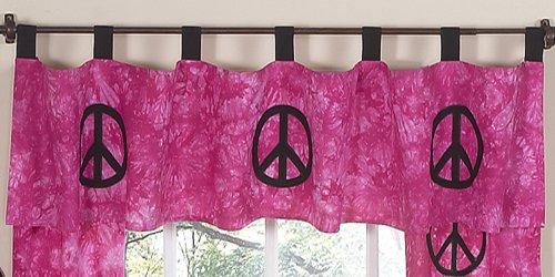 Pink Groovy Peace Sign Tie Dye Window Valance by JoJo Designs