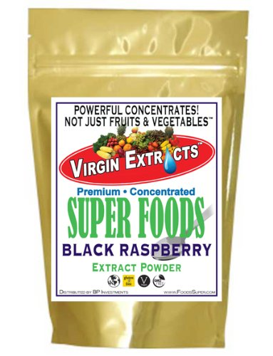 Virgin Extracts (Tm) Pure Premium Raw Freeze Dried Organic Black Raspberry Powder Extract Concentrate 16Oz Pouch (5 X Stronger) Black Raspberry Powder Raspberries Superfood