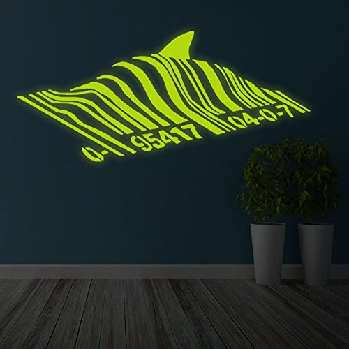 "( 39"" x 17"" ) Banksy Glowing Vinyl Wall Decal Barcode Shark / Glow in Dark Fish Bar Code Sticker / Graffiti Street Luminescent Mural + Free Decal Gift"