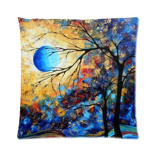 Generic Custom Painting Golden Blue Sky Round Moon Tree Printed Zippered Pillowcase Cushion Case 16*16(Two Sides) front-1055554