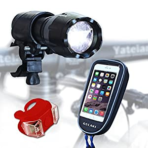 Bike Light LED Set , GULAKI 3 in 1 bike Headlight- Best & Brightest Waterproof Front and Back Lights - Free Bike Phone Mount and Tail Light - Road, Racing & Mountain Bikes - 100% Replacement Guarantee
