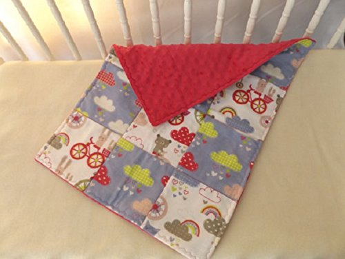 Bunnies and Bikes with Minky Baby and Toddler Quilt, Security Blanket - Lovey - Cradle, Carseat, Stroller, Travel Soother