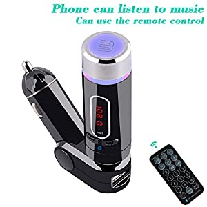 UFMV9 FM Transmitter,the Best Wireless Bluetooth Handsfree Car Kit/Adapter, with USB Port/car charger for cellphones power charging IOS & Android iphone 6/6 plus/5/5c/5s,Samsung Galaxy Note