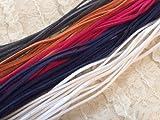 【アンティーク チャーム付】スエード 革ひも 5色セット  1m × 50本 (ダークグレー、ネイビー、オレンジ、ホワイト、ビビッド ピンク, 100 cm)