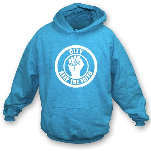 PunkFootball Man City Keep the Faith Hooded Sweatshirt Medium, Color Light Blue