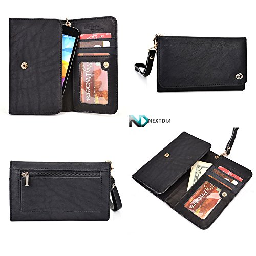 Smartphone Genuine Leather Wallet Wristlet For Samsung G3812B Galaxy S3 Slim| Black With Credit Card Slots And Zippered Pouch For Coins + Detachable Wristlet front-1038479