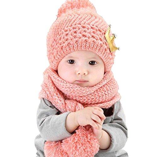 Mikey Store Cute Winter Baby Kids Girls Boys Warm Woolen Coif Hood Scarf Caps Hats (Pink) Crochet Baby Booties Free