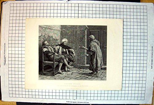 Stampa Antica della Ciotola Richiedente Assistenza dell'Uomo Anziano dei Mocassini di Hodgson Finden dei Menials