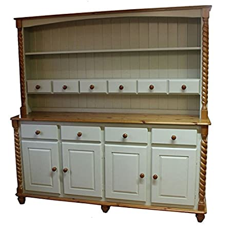 Wye Pine Painted 6ft Barley Twist Dresser - Finish: Distressed - White