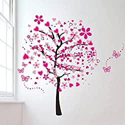Pink Butterfly Flower Tree Living Room Wall Decals Removable Wall Decor Decorative Bedroom Backdrop Home Decor Tree Wall Sticker Stickers for Girls Kids Living Room Bedroom Wallpops 30cm*90cm*4