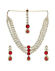 Shining Diva Wonderful Antique Necklace Set With Maang Tika