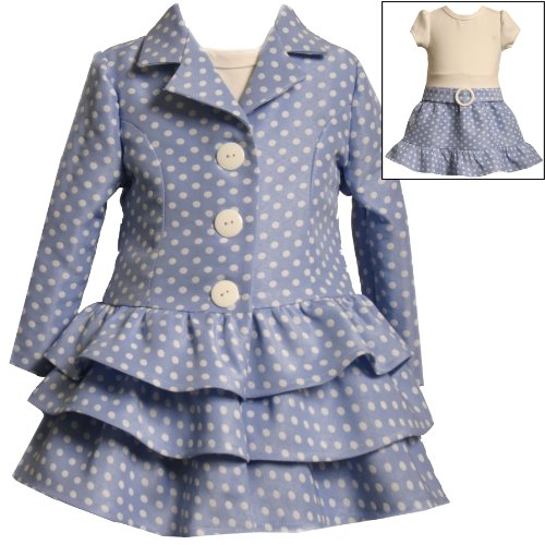 Size-12M BNJ-7016R 2-Piece PERIWINKLE-BLUE WHITE TIERED POLKA DOT Special Occasion Wedding Flower Girl Easter Party Dress/Coat Set,R17016 Bonnie Jean Baby/Infant Girls12M-24M