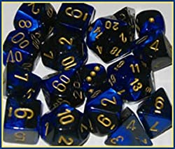 Polyhedral 7-Die Gemini Dice Set: Black & Blue with Gold (d4, d6, d8, d10, d12, d20 & d00)