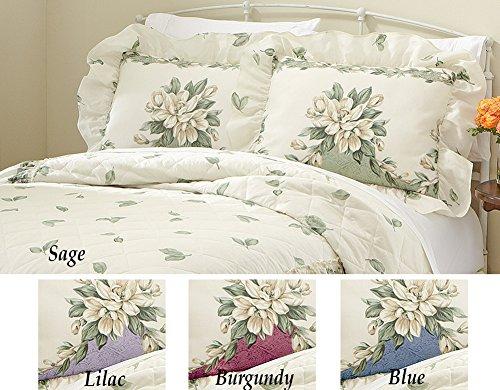 New Magnolia Garden Floral Ruffle Pillow Sham Blue Sham