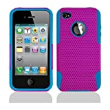 Purple Blue 2 in 1 Hybrid Rubber Plastic Case Cover for Apple Iphone 4 4s 4th Generation /AT&amp;T/Verizon/Sprint