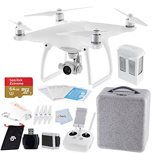 DJI Phantom 4 Quadcopter Bundle includes Sandisk 64GB Extreme MicroSDHC Memory Card + High Speed Card Reader + Fumfie External Battery Pack + More!!!