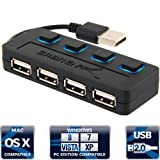 Sabrent 4-Port USB 2.0 Hub with Individual Power Switches and LEDs (HB-UMLS)